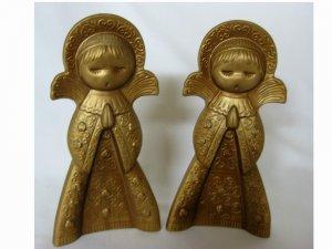 Vintage Pair of Gold Praying Angels