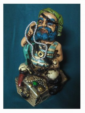 Vintage Pirate Coin Bank with His Strand of Pearls