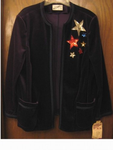 NWT $74.00 - ACT III - Navy Blue Velvet Jacket - Size 44