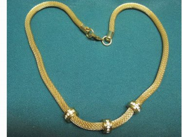 Older....Goldtone Necklace with Rhinestones