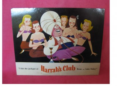 Vintage - Harrah's Casino Hotel Postcard with The Genie