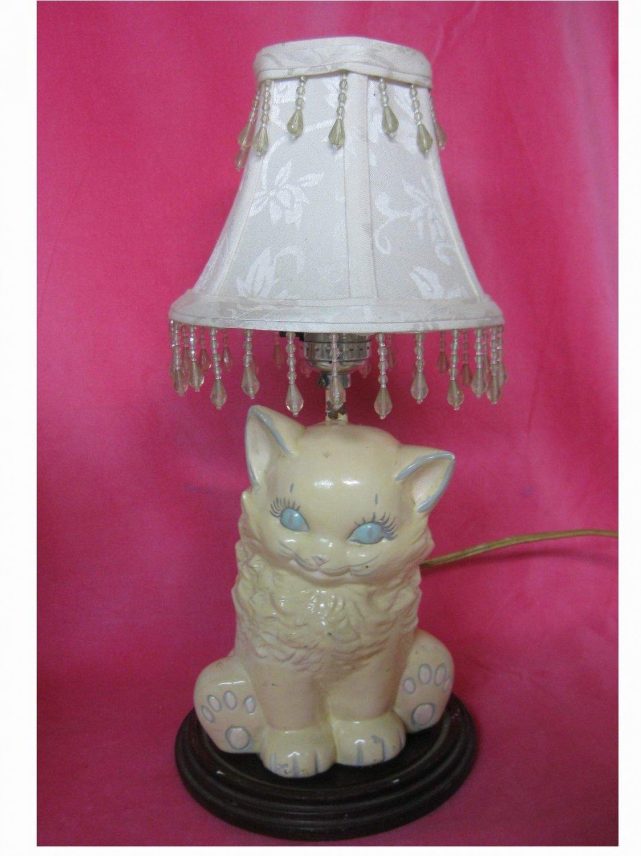 Vintage 1950 S Ceramic White Cat Kitten Table Lamp