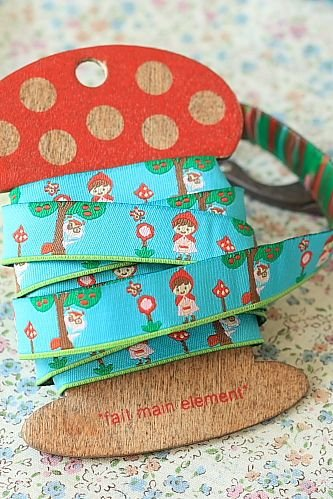 1.6cm x 5 Yards - kawaii Cotton Woven Jacquard Trim Ribbon - Little Red Hood Riding