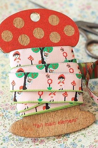 1.6cm x 5 Yards - kawaii Cotton Woven Jacquard Trim Ribbon - Little Red Riding Hood Pink