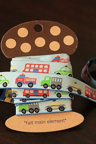 1.6cm x 5 Yards - kawaii Cotton Woven Jacquard Trim Ribbon - Little Cars