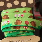 1.6cm x 5 Yards - kawaii Cotton Woven Jacquard Trim Ribbon - Green Hedgehog