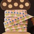 1.6cm x 5 Yards - kawaii Cotton Woven Jacquard Trim Ribbon - Owl