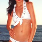 Swimwear Nautical Halter Top With Eyelette Weave and Bikini Bottom Size L