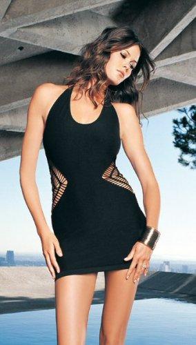 Halter Seamless Crochet Side Halter Mini Dress--One Size