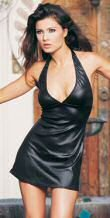 Black Wet Look Mini Halter Dress One Size