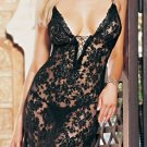 2 Piece Black Spanish Lace Long Dress w/G-String One Size