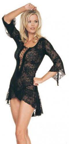 Lingerie 2 pc Spanish Lace Up Front Black Dress  Plus Size