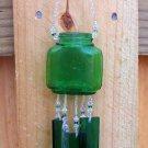 Green Glass Medicine Bottle Windchime, Wind Chime