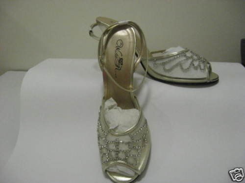 Ladies Light Gold  Mesh Dress Wedding Shoes SIZE 9, New