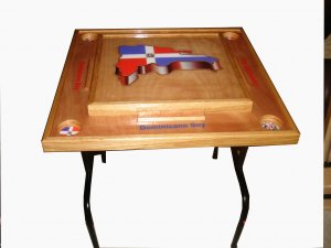 Dominican Republic Domino Table with the 3D map