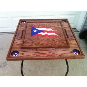 Puerto Rico Domino Table with the flag (dark)
