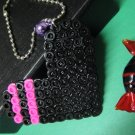 Large Black Heart Bead Ring