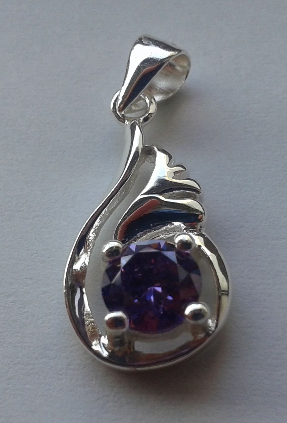 30% Silver amethyst wings necklace