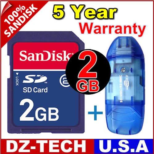 New SanDisk Secure Digital 2GB SD Memory Card 2 G GB 2G + Reader \ SDSDJ-2048-PROMOTION
