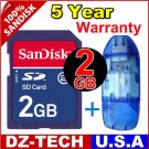 New SanDisk Secure Digital 2GB SD Memory Card 2 G GB 2G + Reader \ SDSDJ-2048-PROMOTION