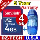 SanDisk 4GB SDHC SD HC Flash Memory Card 4 GB G 4G New + Reader \ SDSDBR-4096-PROMOTION