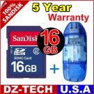 SanDisk 16GB SDHC SD HC Flash Memory Card 16 GB G 16G New + Reader \ SDSDBR-016G-PROMOTION
