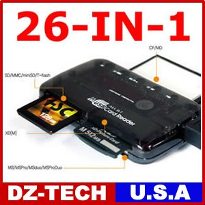 26-IN-1 USB Flash Memory Card Reader FOR CF/xD/SD/MS/SDHC 1GB 2GB 4GB 8GB 16GB 32GB\ CR-26IN1-BK
