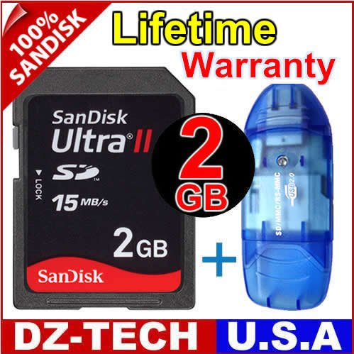 SanDisk 2GB Ultra II Class 4 SDHC SD HC Flash Memory Card 2 GB G 2G + Reader \ SDSDHR-002G-PROMOTION