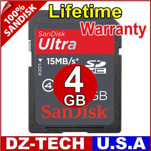 SanDisk 4GB Ultra II Class 4 SDHC SD HC Flash Memory Card 4 GB G 4G \ SDSDHR-004G