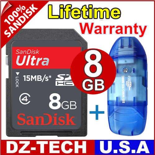 SanDisk 8GB Ultra II Class 4 SDHC SD HC Flash Memory Card 8 GB G 8G + Reader \ SDSDHR-008G-PROMOTION