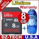SanDisk 8GB Ultra II Class 4 SDHC SD HC Flash Memory Card 8 GB G 8G + Reader \ SDSDHR-008G-PROMOTION