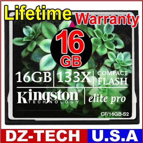 Kingston Elite Pro High Speed 133X 16GB CF Compact Flash Card New 16 G GB 16G \ CF-16GB133XBK-KS