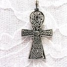 NEW CAST PEWTER CELTIC SCROLL KNOT ANHK / ANKH EGYPTIAN SYMBOL PENDANT ADJ CORD NECKLACE