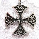 NEW CELTIC KNOT SCROLL MALTESE CROSS USA CAST PEWTER PENDANT NECKLACE