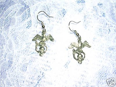 BIKER STYLE EAGLE / SKULL / SERPENT 3 IN ONE PEWTER DANGLING RIDER CHARM EARRINGS