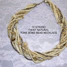 10 Strand Twist Bone Bead Choker Necklace Natural & Tea Stained Antiqued Colors