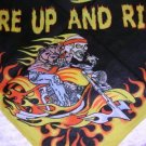 WILD COLOR FIRE UP AND RIDE BIKER SKELETON EASY RIDER BANDANA SCARF HANKERCHIEF