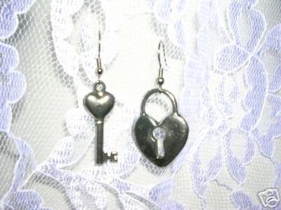 SOLID PEWTER LOVE LOCK & KEY HEART SHAPED LOCK & KEY TOPPER EARRINGS