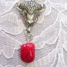 HAND ENGRAVED BISON / BUFFALO HEAD w RED FREEFORM NUGGET PENDANT NECKLACE