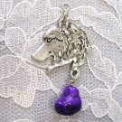Engraved Pewter WOLF Head Profile View with PURPLE Turquoise Nugget Dangle Wild Wolves