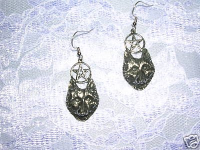 NEW NIGHT WOLF FACE & 5 POINT MAGIC PENTACLE STAR HAND MADE CAST PEWTER PENDANT EARRINGS