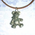 REALISTIC FUZZY TEDDY BEAR PLUSH TOY LOOK PEWTER PENDANT NECKLACE