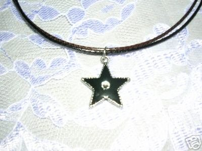 """HOT KISS PAUL STANLEY BLACK STAR w SWV CRYSTAL 18"""" LEATHER CORD NECKLACE"""