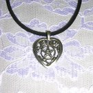 NEW CELTIC STYLE HEART WICCA PENTACLE STAR USA PEWTER PENDANT ADJ NECKLACE