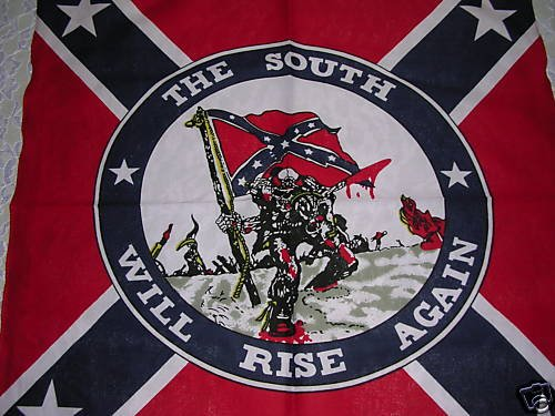 NEW REBEL CONFEDERATE FLAG w SKELETON SOLDIER BANDANA SCARF THE SOUTH WILL RISE AGAIN BATTLE