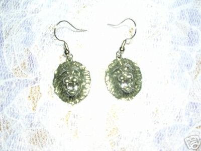 EL LEON EXOTIC AFRICAN LION HEAD FACE PEWTER DANGLING CHARM EARRINGS LIONS
