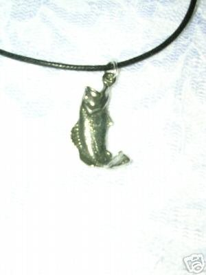 FRESHWATER 3D FISHING BIG MOUTH BASS FISH USA PEWTER PENDANT ADJ NECKLACE