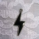 NEW BLACK INLAY LIGHTNING BOLT PEWTER PENDANT NECKLACE