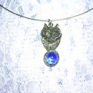 WILDLIFE GRAY WOLF FACE w BLUE GEM BALL CAST PEWTER PENDANT ADJ CORD NECKLACE