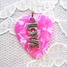 HOT PINK GIRL ROCKER GUITAR PICK LOVE LO V E CHARM PENDANT NECKLACE